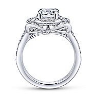 Honest 18k White Gold Emerald Cut Halo Engagement Ring angle 2