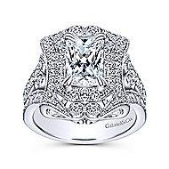 Honest 18k White Gold Emerald Cut Halo Engagement Ring angle 5