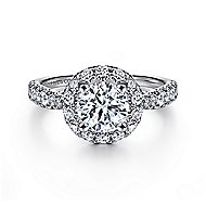 Honey 14k White Gold Round Halo Engagement Ring angle 1