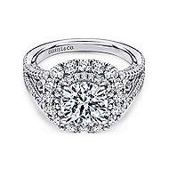 Honeymoon 18k White Gold Round Double Halo Engagement Ring angle 1