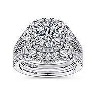 Honeymoon 18k White Gold Round Double Halo Engagement Ring angle 4