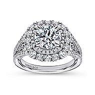 Honeymoon 18k White Gold Round Double Halo Engagement Ring angle 5