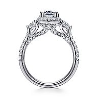 Hope 14k White Gold Cushion Cut 3 Stones Halo Engagement Ring angle 2