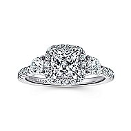 Hope 14k White Gold Cushion Cut 3 Stones Halo Engagement Ring angle 5