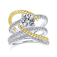 Hudson 14k Yellow And White Gold Round Split Shank Engagement Ring angle 4