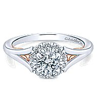 Idol 14k White And Rose Gold Round Halo Engagement Ring angle 1
