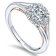 Idol 14k White And Rose Gold Round Halo Engagement Ring angle 3
