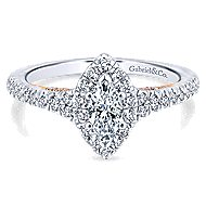 Imperial 14k White And Rose Gold Marquise  Halo Engagement Ring angle 1
