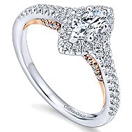 Imperial 14k White And Rose Gold Marquise  Halo Engagement Ring angle 3