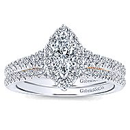 Imperial 14k White And Rose Gold Marquise  Halo Engagement Ring angle 4