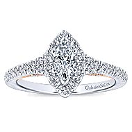 Imperial 14k White And Rose Gold Marquise  Halo Engagement Ring angle 5