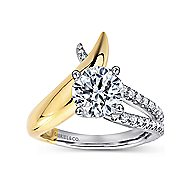 Indiana 18k Yellow And White Gold Round Split Shank Engagement Ring angle 5