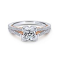 Indie 18k White And Rose Gold Princess Cut Split Shank Engagement Ring angle 1