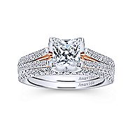 Indie 18k White And Rose Gold Princess Cut Split Shank Engagement Ring