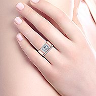 Inna 14k White And Rose Gold Emerald Cut Halo Engagement Ring