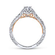 Ioni 14k White And Rose Gold Round Halo Engagement Ring angle 2