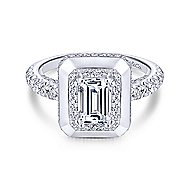 Irene 18k White Gold Emerald Cut Halo Engagement Ring