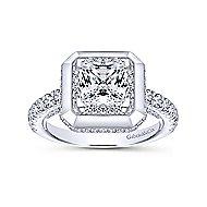 Irene 18k White Gold Princess Cut Halo Engagement Ring