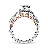 Isabella 14k White And Rose Gold Round Straight Engagement Ring angle 2