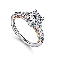 Isabella 14k White And Rose Gold Round Straight Engagement Ring