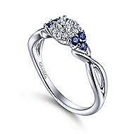 Isabella 14k White Gold Round Halo Engagement Ring angle 3
