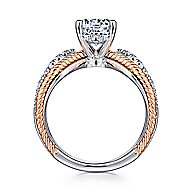 Isla 14k White And Rose Gold Round Split Shank Engagement Ring angle 2