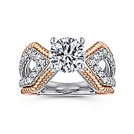 Isla 14k White And Rose Gold Round Split Shank Engagement Ring angle 5