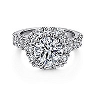 Ivory 18k White Gold Round Halo Engagement Ring angle 1