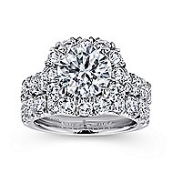 Ivory 18k White Gold Round Halo Engagement Ring angle 4