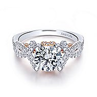 Ivy 18k White And Rose Gold Round Twisted Engagement Ring angle 1