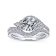 Izzie 14k White Gold Round 3 Stones Engagement Ring angle 4