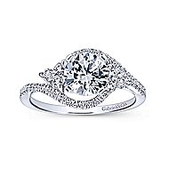 Izzie 14k White Gold Round 3 Stones Engagement Ring angle 5