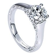Jacquie 18k White Gold Round Solitaire Engagement Ring angle 3
