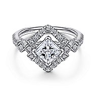 Jade 14k White Gold Princess Cut Halo Engagement Ring