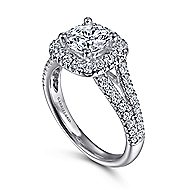 James 14k White Gold Round Halo Engagement Ring angle 3