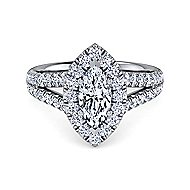 James Platinum Marquise  Halo Engagement Ring angle 1
