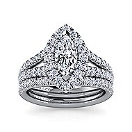 James Platinum Marquise  Halo Engagement Ring angle 4