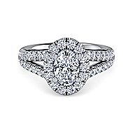 James Platinum Oval Halo Engagement Ring angle 1