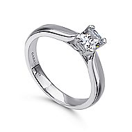 Jamie 14k White Gold Cushion Cut Solitaire Engagement Ring