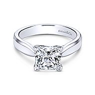 Jamie 14k White Gold Princess Cut Solitaire Engagement Ring angle 1