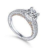 Jane 14k White And Rose Gold Round Straight Engagement Ring