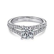 Janelle 14k White Gold Round Split Shank Engagement Ring angle 1