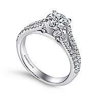 Janelle 14k White Gold Round Split Shank Engagement Ring angle 3