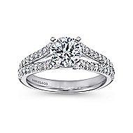 Janelle 14k White Gold Round Split Shank Engagement Ring angle 5