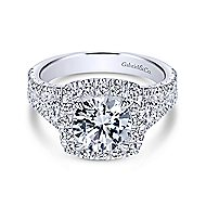 Janet 18k White Gold Round Halo Engagement Ring angle 1