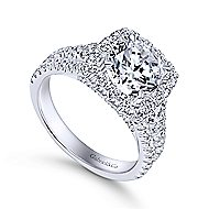 Janet 18k White Gold Round Halo Engagement Ring angle 3
