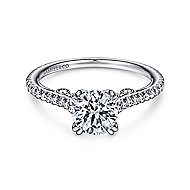 Janine 18k White Gold Round Straight Engagement Ring angle 1