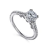 Janine 18k White Gold Round Straight Engagement Ring angle 3