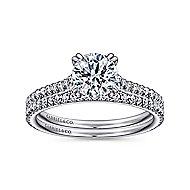 Janine 18k White Gold Round Straight Engagement Ring angle 4