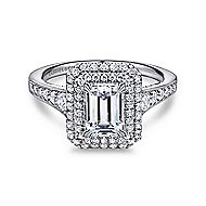 Jasmine 14k White Gold Emerald Cut Double Halo Engagement Ring angle 1